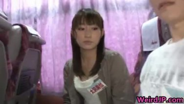 Wild japanese femmes have super hot bus journey
