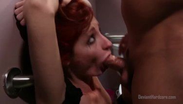 Tough lovemaking with redhead in public shower