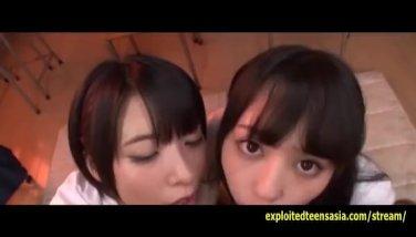 2 jav students do deep facehole oral job and jizm gulping plus mass ejaculation