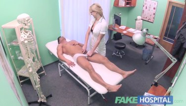 Faux Hospital Fit Stud Ejaculates Over Super-fucking-hot Blond Nurses Baps After Boinking Her