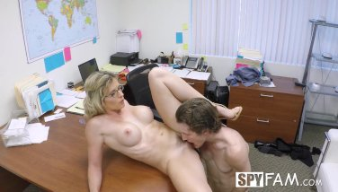 Spyfam step son office rectal pummel with step mother cory haunt at work