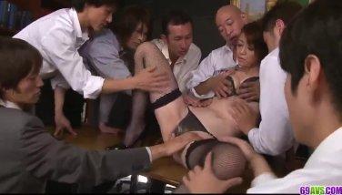Maki hojo group sex orgy in harsh office vignettes