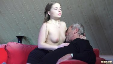Old youthfull porno tiny female porked by smoothly-shaven grandpa in her raw flawless snatch