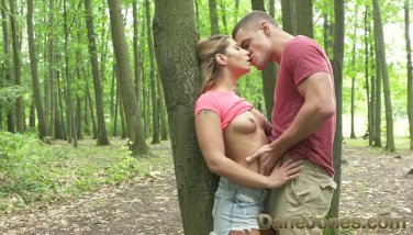 Dane jones outdoor pound in public youthfull paramours find flawless tree to bang on