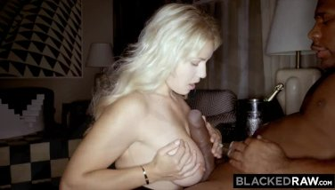 Blackedraw towheaded girlfirend hotwife at after soiree with dark-hued promoter