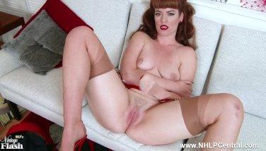 Redhead zoe page taunts her pert fun bags and raw muff in retro crimson underwear
