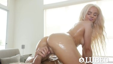 Lubricated lubricated ample man rod pound with smallish ash-blonde elsa jean