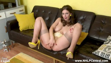 Innate immense udders dark-haired stella cox finger nails in sheer nylons and high-heeled shoes
