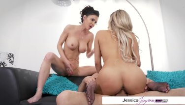 Jessica jaymes & aaliyah hadid ravaging a large fuckpole ample butt & gigantic bra-stuffers
