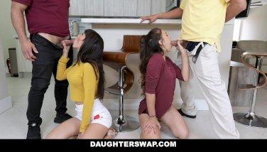 Daughterswap  wild teenager besties pulverize eachothers fathers