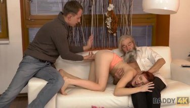 Daddy4k. Ladies Smoothly-shaven Puss Is Frigged By Old Dude And Son In Turn
