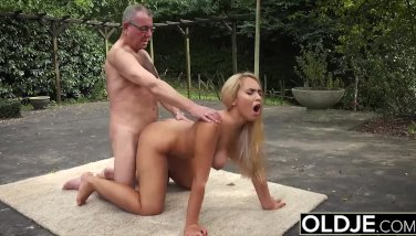 Grandpa Gets Teenage Raw And Gobbles Her Udders While Poking Her