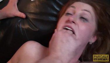Tough subslut queen paris munches jizz after harsh pound
