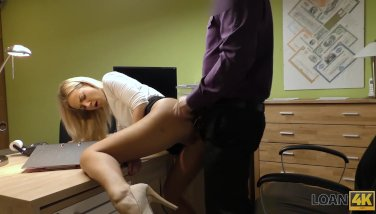 Loan4k. towheaded lassie gives herself to agent in office in loan pornography