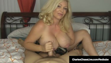 Huge-chested ash-blonde mummy charlee haunt strokes your beef whistle in sofa