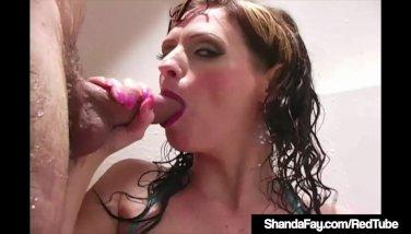 Insane housewife shanda fay drills and blows weenie in the bathroom