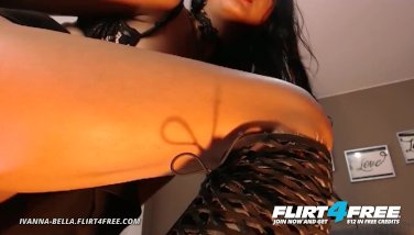 Flirt4free  ivanna bella  bi brown-haired honey plays with both fuck holes