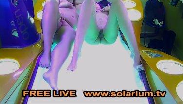 Lezzie dolls on public solarium hidden syp spycam webcam