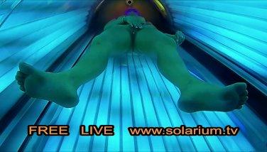 Towheaded Amateur doll frolicking coochie on hidden cam solarium hidden web cam