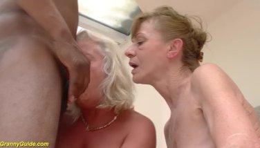 Multiracial ass-fuck granny hump