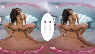 Vrbangers youthful brown-haired get porked rock-hard at the pool side vr porno