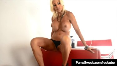 Huge-boobed platinum-blonde sweetie puma swede faux-cock smashes in diner