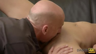 Daddy4k. Tricky Old Stud Desired To Help Son's Girlfriend Find Appropriate Job